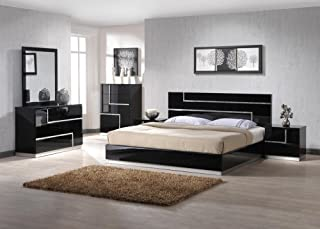 J&M Furniture Lucca Black Lacquer With Crystal Accents King Size Bedroom Set