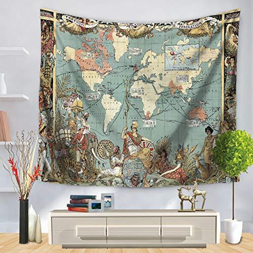 WERT Mapa del Mundo patrón Tapiz de Pared Manta Colgante de Pared decoración de casa de Campo máquina de decoración para el hogar A3 200x150cm