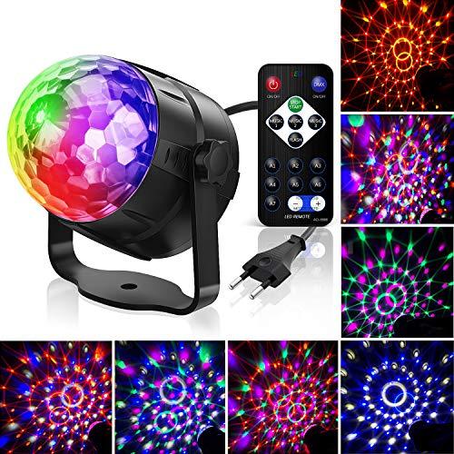 Luces de discoteca,Tintec Luces LED para fiesta de Navidad Luces de fiesta de discoteca 7 modos Combinación 6 colores, Luces de efecto de luz de escenario para fiesta Fiesta Niños Cumpleaños Karaoke