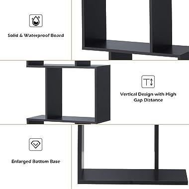 Giantex 3-Tier Bookshelf S Shaped Bookcase, Free Standing Industrial Storage Rack, Multifunctional Display Decor Furniture fo