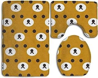 NEWpapa Rilakkuma Brown Face Prints Non-Slip Bathroom Rugs 3 Piece Set Anti-Skid Pads Bath Mat + Toilet Lid Cover + Contour