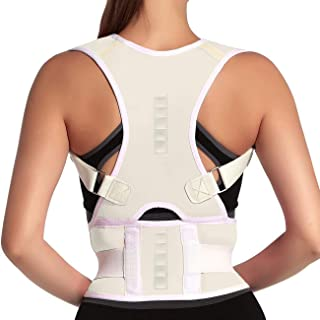 Thoracic Back Brace Posture Corrector- Magnetic Lumbar Back Support Belt-Back Pain Relief, Improve Thoracic Kyphosis, for Lower and Upper Back Pain Men & Women (White, Medium)