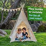 Canicove Tipi Zelt Für Kinder – Faltbares Indoor & Outdoor Set Baumwolle Naturfarben mit Massivholzpfosten & Jux Flaggen für 2 Jungen & Mädchen (Naturfarben) Segeltuch Wigwam - 3