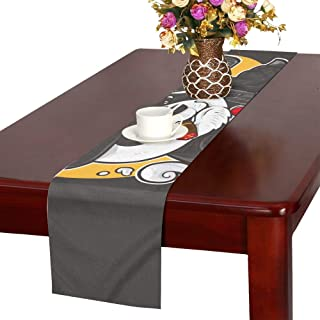 NQEONR Panda Mafia Outfit Holding Machine Gun Table Runner, Kitchen Dining Table Runner 16 X 72 Inch for Dinner Parties, Events, Decor