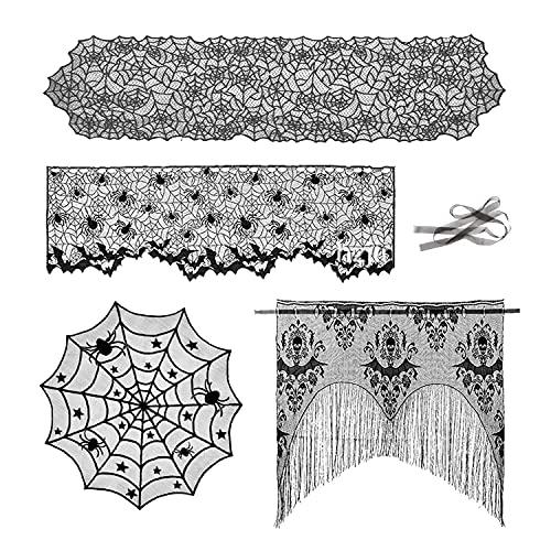 4 Pezzi Set di Decorazioni di Halloween,Tovaglia Rotonda Ragnatela, Sciarpa Camino,Corridore della Tabella di Halloween Spiderweb e PipistrelloTende (Nero)