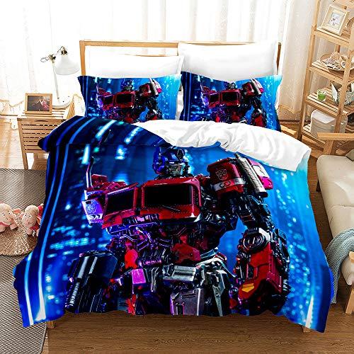 Xikmad Juego de ropa de cama Transformers con diseño de Transformers, funda nórdica con 2 fundas de almohada, adecuado para niños fans de la película (200 x 200 cm)