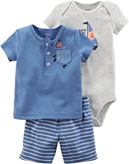 Carter ' s 婴儿男孩0m-9m 3件套帆船连体衣小短裤套装