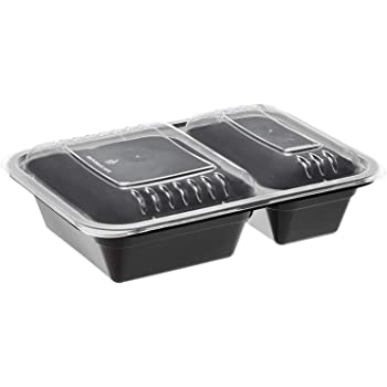 AmazonBasics 2 Compartment Meal Prep Containers - BPA Free, Microwave/Dishwasher/Freezer Safe, 32 ounces, 15-Pack