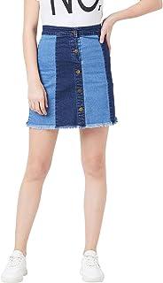 The Dry State Women Denim Blue Colurblocked Skirt WSKI_608A_1999-$P