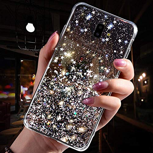 Uposao Kompatibel mit Samsung Galaxy J6 Plus 2018 Hülle Glitzer Diamant Sterne Glänzend Kristall Strass Bling Schutzhülle Crystal Clear Silikon Durchsichtig Hülle Ultradünn TPU Bumper Tasche,Schwarz