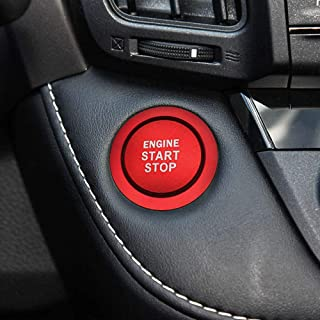 Ceyes Car Engine Start Stop Button Push to Start Button Trim Ignition Start Stop Button Decal Ignition Switch Button Cover + Ring Stickers for Toyota Camry Cruiser Corolla C-HR Rav4 Yaris - Red