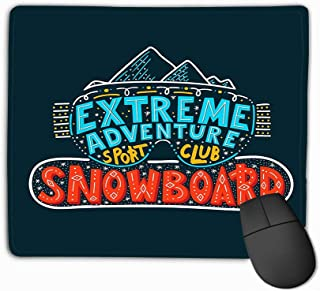 Gaming Mouse Pad Custom, Personality Desings Gaming Mouse Pad 11.81 X 9.84 Inch Snowboard Club Poster Extreme Adventure Concept sporprint Stamp Logo Equipment Hand Lettering
