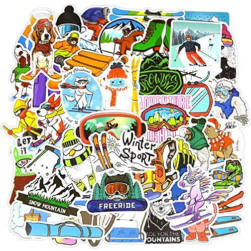 BLOUR 50 PCS Ski Sport Sport Aufkleber Set Outdoor Winter Graffiti wasserdichte Aufkleber DIY Snowboard Helm Laptop Ski Styling Vinyl Aufkleber