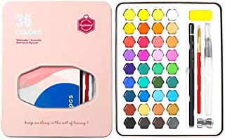 Watercolor Paint Set,Hamkaw 36 Vibrant Color Solid Pigment Painting Kit with Water Brush Pen & Storage Bag Portable Professional Art Supplies Gift Sets for for DIY Beginners Artists Kids