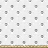 ABAKUHAUS Tela de golf por metro, Repetitive Ball, Hit, bonita tela tejida para tapicería y accesorios del hogar, 1 m (148 x 100 cm), color gris y blanco