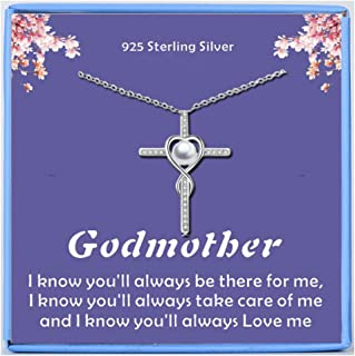 Godmother Gifts Godma Godmother Necklace: Godmother Proposal, Fairy Godmother,925 Sterling Silver Cross Necklace Pearl Necklaces Be My Godmother,