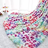 Homore Fluffy Leopard Blanket, Plush Cheetah Print Throw Blankets Soft Colorful Faux Fur Bed Throw for Decorative Couch Chair Sofa, Washable and Lightweight, 50' x 60'