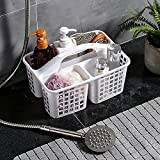 ALINK Plastic Shower Caddy Basket with Compartments, Portable Divided Cleaning Supply Storage Organizer with Handle for College Dorm Bathroom - White