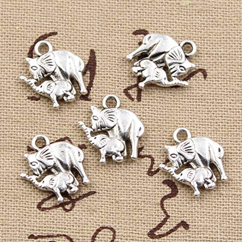 LLBBSS 20 Piezas Encantos Mamá Y Bebé Elefante 16X14 Mm Bronce Antiguo Color Plata Colgantes DIY Haciendo Hallazgos Hechos A Mano