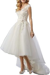 0b284b615982 Women's Lace High Low Short Tea Length Wedding Dress Bridal Gown