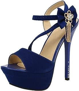 Wotefusi Women Flower Rhinestone Tassels Sandals High Heels