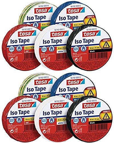 tesa 56192 ISO TAPE Isolierband, 10 m x 15 mm (10er Vorteilspack, Alle 5 Farben)