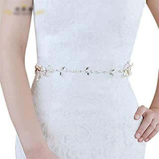 LUKEEXIN Bridal Belt Girdle Women's Decorative Crystal Pearl Wedding Dress Accessories (Color : White)
