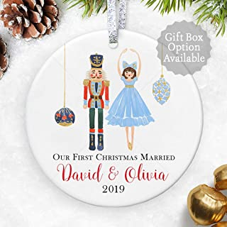 Our First Christmas Married 2019, Personalized Christmas Nutcracker Ornament for Couple, Wedding Gift for Newly weds - 3