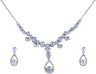 Alilang Classy Faux Pearl Swarovski Crystal Element Bridal Earring Necklace Set