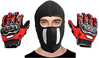 eraa Men's and Women's Leather Motorcycle Dotted Gloves and Cotton Cycling Anti-Dust Full Face Mask with Filter (Assorted Colors, Free Size)