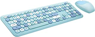 Mofii Wireless Keyboard and Mouse Combo 2.4G Mixed Color Keyboard Mouse Set with Round Punk Cute Keycaps 110-Key Home Offi...