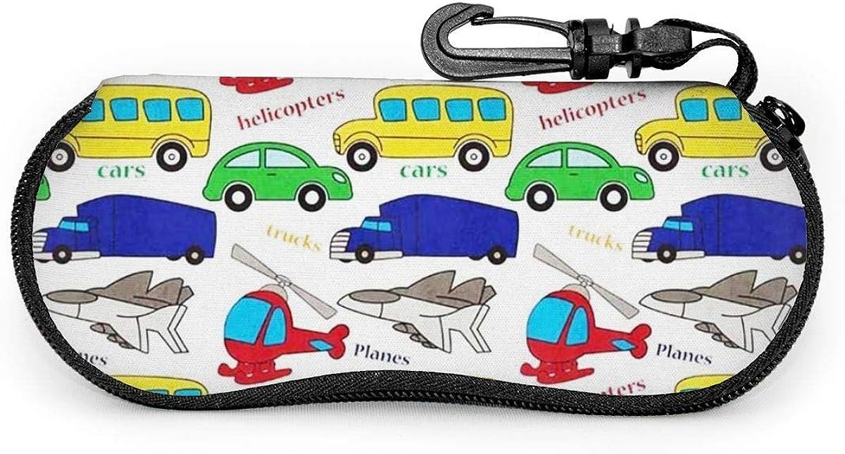 Funny Cartoon Kids' Transport Cars Trucks Planes Sunglasses Soft Case Ultra Light Neoprene Zipper Eyeglass Case With Key Chain