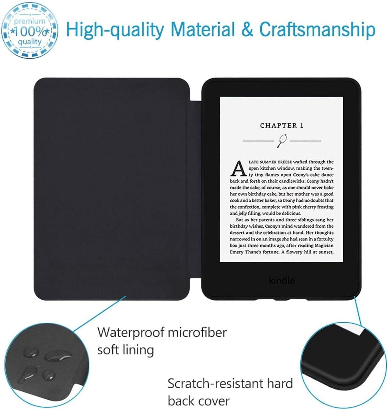 Kindle Paperwhite-4 Blossom Fits All Paperwhite Generations Prior to 2018 Water-Safe Case for Kindle Paperwhite PU Leather Smart Cover with Auto Wake//Sleep