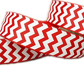 "25 Yards/roll 7/8"" White Chevron Pattern Printed Red Grosgrain Ribbon"