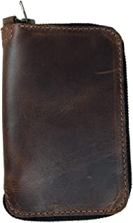 Hide & Drink, Leather Zippered Journal Cover for Moleskine Notebook, Pocket (3.5 x 5.5 in.), Notebook NOT Included, Cahier Case, Handmade Includes 101 Year Warranty :: Bourbon Brown