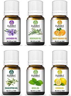 SUNIRA Essential Oil Gift Set of 06, Therapeutic Grade, 100% Pure Essential Oils (Lavender, Rosemary, Basil, Lemon, Eucalyptus & Orange)