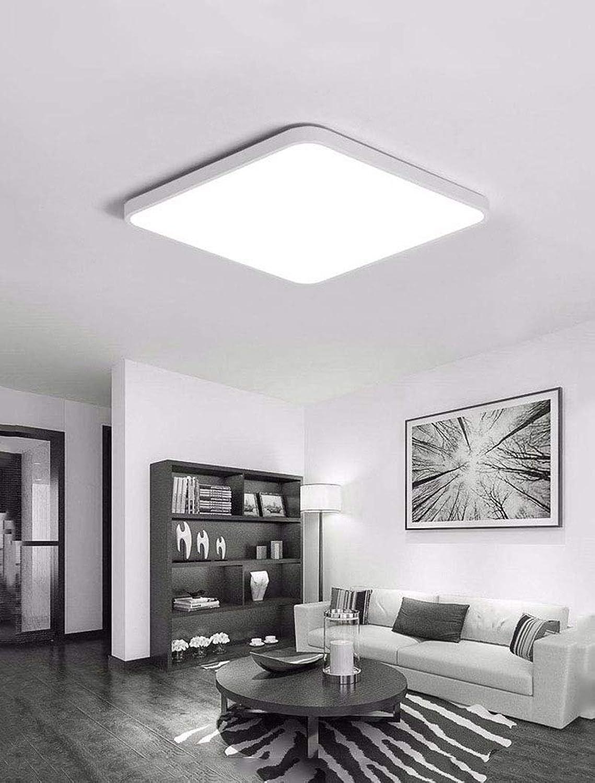 Ultradünne moderne LED Deckenleuchte, Flush Mount Deckenleuchte, für Wohnzimmer Badezimmer Schlafzimmer und Esszimmer LED Deckenleuchten, drei Farbe einstellbar,Weiß,23.62×23.62in72W