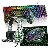 XINMENG 4-in-1 Gaming Keybaord Mouse Headset Combo,RGB Rainbow LED Backlight Gamer Keyboard and Crack Game Mouse Illuminate 3.5mm Stereo Camouflage Headphone for Laptop Computer PC Games