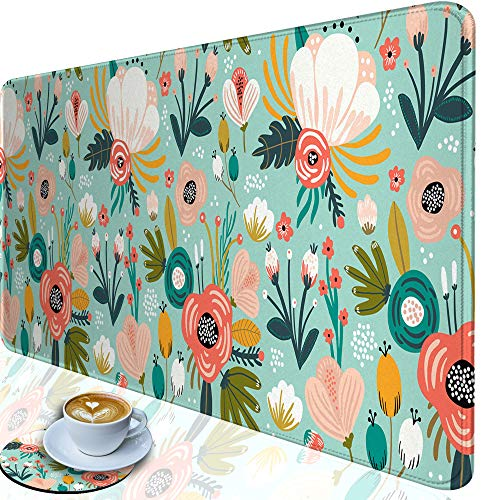 Desk Pad-Large Gaming Mouse Pad with Stitched Edges, Extended Computer Mouse Pad Water-Resistant Writing Pads with Non-Slip Rubber Base 31.5 x 11.8 in, with Coasters(Flower)