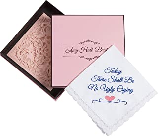Amy Holt Bridal Mother of The Bride Gifts from Daughter, No Ugly Crying Wedding Handkerchief w/Gift Box and Card