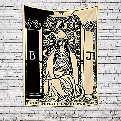 OFila Tarot Tapestry The High Priestess Tapestry Medieval Europe Divination Black and White Old Tarot Card Wall Hanging Tapestry for Home Bedroom Living Room Dorm Decor 39.4x59.1 Inch
