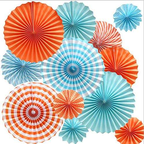 RayLineDo 12 Pcs Multi-Color Paper Hanging Party Fans Tissue Paper Garlands for Festival Party Wedding Home Birthday Décor- Blue and Orange