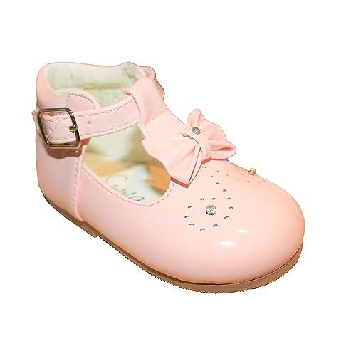 728e2366e8ae Sevva Baby Infant Girls Spanish Style Patent First Walking Shoes Diamante    Bow Trim Sizes 2