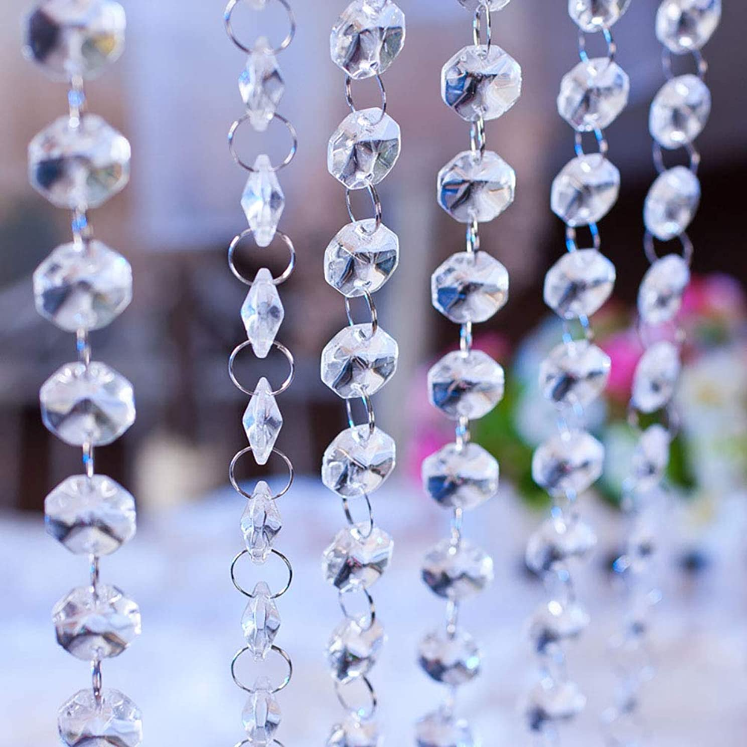 16.4 Feet Clear Crystal Glass Beads Lamp Chain Chandelier Decoration for Wedding Home Party Tree Garlands Decoration