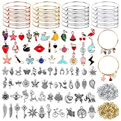 Package Included: Flasoo bangles for jewelry making kit come with 20 pieces of expandable bangles in 4 colors, 30 pieces of assorted bracelet charms, 50 pieces of smooth silver metal charms pendants and 200 pieces of jump rings, suitable for your dai...