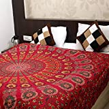 RSG Venture Tapestry Wall Hanging Hippie Mandala Tapestry College Dorm Tapestry Mandala Tapestry Dorm Decor Indian Hippie Tapestry Bohemian Bedspread (Queen (84X85 inches Approx), Red)
