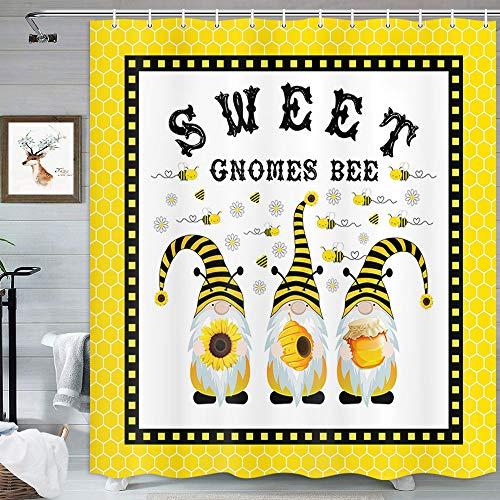 MERCHR Lustiger Zwerg Duschvorhang, gelbe Frühlings-Sonnenblume Gänseblümchen süße Bienen rustikale Duschvorhänge Set für Badezimmer, wasserdichter Stoff mit Haken 175,7 x 177,8 cm