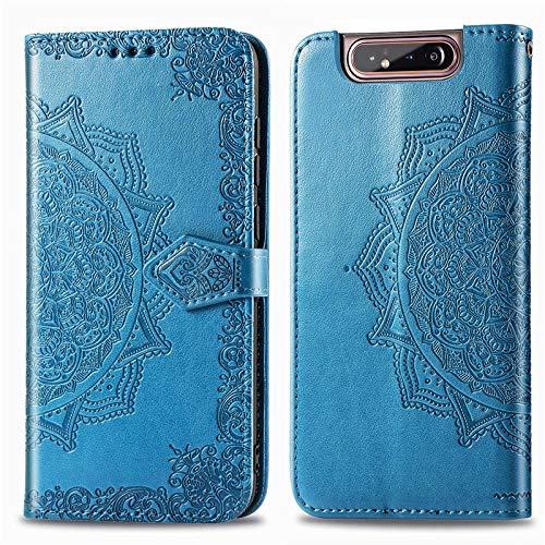 Exquisita funda de piel sintética compatible con Samsung Galaxy A80 y A90, funda tipo cartera de piel sintética con tarjeteros y cierre magnético de doble forma (color: azul)