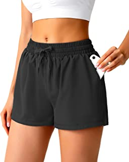 """Womens Quick Dry Running Shorts, High Waisted Athletic Shorts for Women with Pockets, 2"""" Built-in Brief Workout Shorts Womens"""