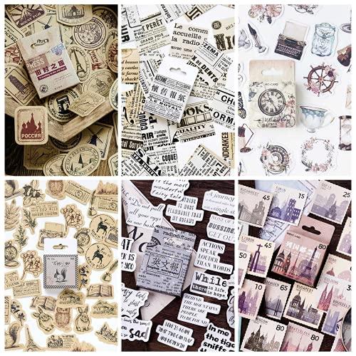RosewineC 6 Boxen Vintage Aufkleber Stempel Scrapbooking Aufkleber für Scrapbook Kalender Notizbuch Tagebuch Fotoalbum DIY, 44mm x 44mm Dekoration Stempel